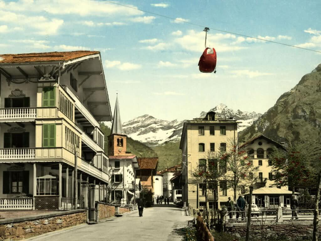 The 20th century, the ski lift on Mont Rosa